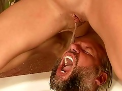 old man and youthful cutie pissing and fucking