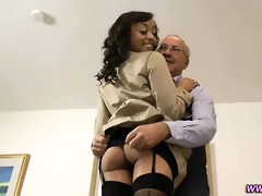 swarthy non-professional in stockings screwed