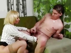 mature blond muff rub and sucks younger boy
