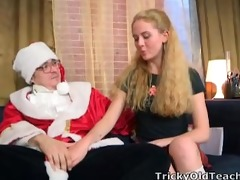 beautiful juvenile blond receives to fuck santa