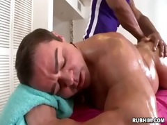 muscled dad stripped as brawny masseur strokes