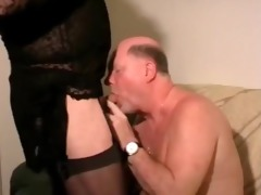 old fellow with crossdresser. dad swallow make