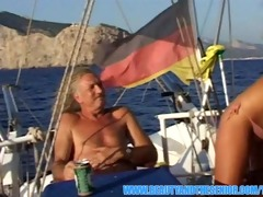 stunning golden-haired screwed on a boat