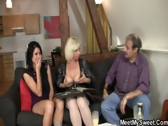 he is finds her gf fucking his old parents
