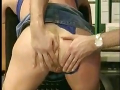 older in nylons receive drilled by younger guy