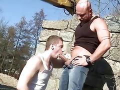 large dad copulates chap in the booty outdoor