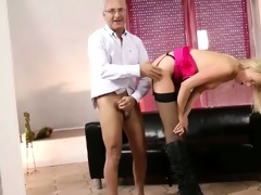 stylish blond fucked by old guy