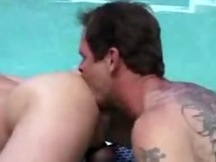 daddy copulates younger in pool