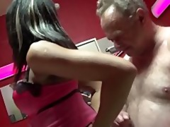 old stud try to fuck a youthful brunette hair