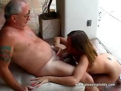 angel acquires face hole screwed by old fellow