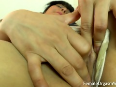 first time non-professional masturbates her large