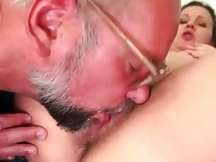 grand-dad and curly juvenile gal pissing and