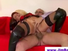 redhead in leather boots screwed by old chap