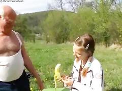 older man copulates teeny outdoors