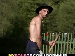 old guy licking and toying his sons gf pussy