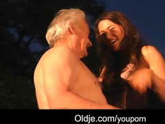 favourable granddad bonks with sexy beauties