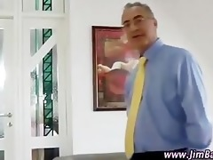 mature chap watches younger beauty fingering