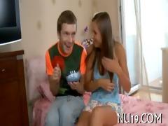 cutie kneels, gives worthy oral-job pleasure