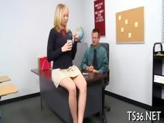 girl serves a older wang
