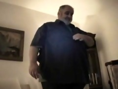 plump bear dad - strokes his corpulent penis