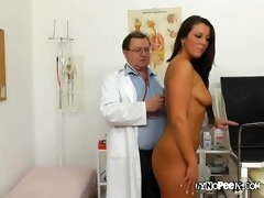 ella rubs her bawdy cleft while examined by medic