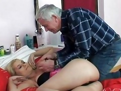 naughty old stud screws young golden-haired