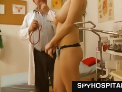 chesty brunette doctor check-up voyeur movie